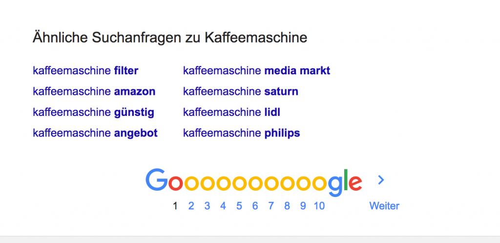 Google schlägt ähnliche Suchanfragen vor
