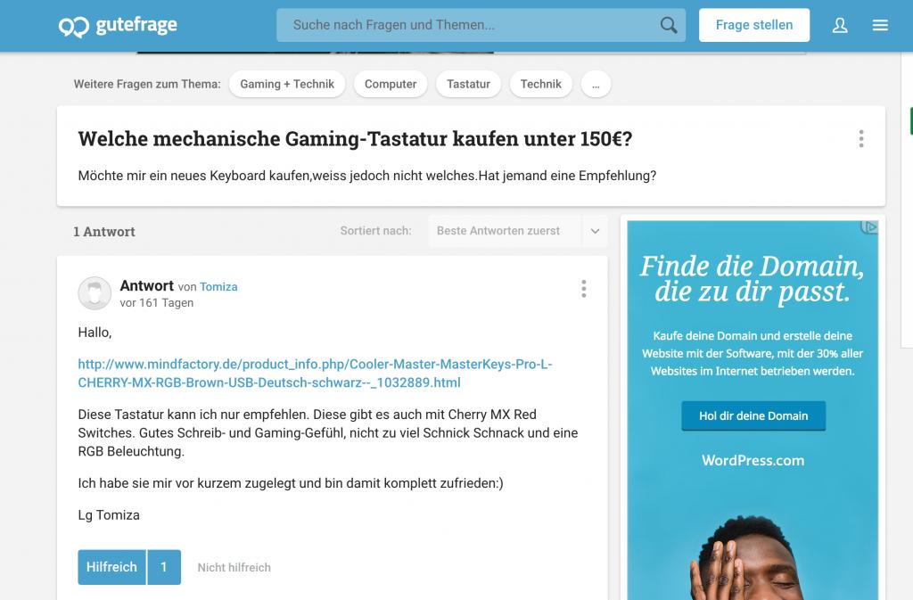 Gutefrage.net ist ein beliebtest FAQ Portal
